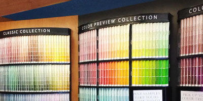 Wall of color swatches at Reno Paint Mart Reno interior design